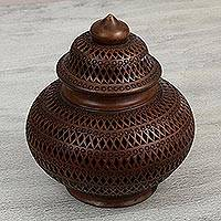 Ceramic decorative jar, 'Elegant Tradition' - Handcrafted Openwork Ceramic Decorative Jar from Mexico