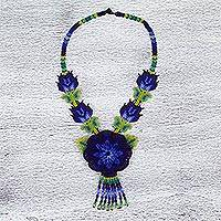 Glass beaded pendant necklace, 'Desert Flower' - Blue Floral Huichol Beaded Necklace with Yellow Butterflies