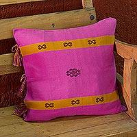 Cotton cushion cover, 'Harmonious Color' - Mexican 100% Cotton Artisan Crafted Fuchsia Cushion Cover