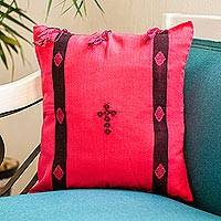 Cotton cushion cover, 'Chiapas Folklore' - Loom Woven 100% Cotton Pink Cushion Cover from Mexico