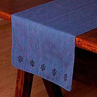 Cotton table runner, 'Mayan Home' - Mexican 100% Cotton Handcrafted Table Runner