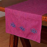 Cotton table runner, 'Life and Heritage' - Hand Woven 100% Cotton Table Runner from Mexico