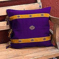 Cotton cushion cover, 'Dreams of Tradition' - Artisan Crafted Purple 100% Cotton Cushion Cover from Mexico