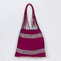 Cotton shoulder bag, 'Sweet Mulberry' - Mexican Backstrap Loom Woven 100% Cotton Shoulder Bag