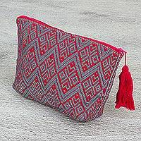 Cotton cosmetics bag, 'Mayan Dream' - Mexican Hand Woven Cotton Patterned Cosmetics Bag