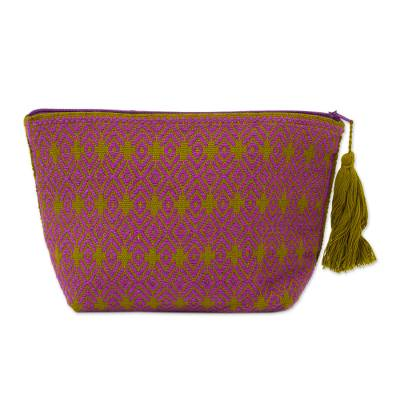 Novica Cotton cosmetics bag, Geometric Glamour