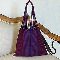 Cotton tote, 'Ancestral Stripes in Plum' - Handwoven Cotton Tote in Plum and Royal Blue from Mexico