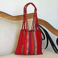 Cotton tote, 'Ruby Passion' - Handwoven Striped Cotton Tote in Ruby from Mexico