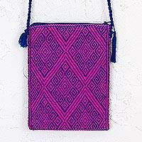 Cotton cell phone bag, 'Diamond World' - Diamond Motif Cotton Cell Phone Bag in Fuchsia from Mexico