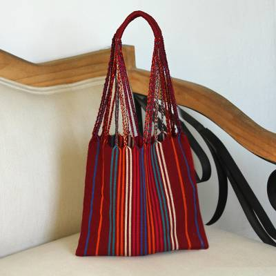 Cotton tote, 'Crimson Passion' - Handwoven Striped Cotton Tote in Crimson from Mexico