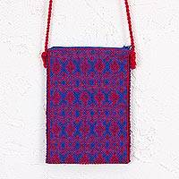 Cotton cell phone bag, 'Life and Happiness' - Cotton Cell Phone Bag in Delft Blue and Cerise from Mexico