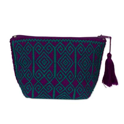 Novica Cotton cell phone bag, Strawberry Geometry