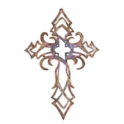 Steel wall cross, 'Baroque Belief' - Hand Crafted Steel Cross Wall Decor from Mexico
