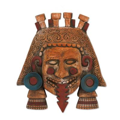Ceramic mask, 'Monster Earth God' - Cultural Ceramic Wall Mask of a God from Mexico