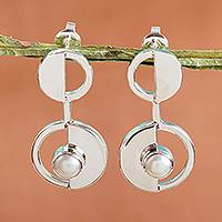 Cultured pearl drop earrings, 'Modern Semicircles' - Modern Cultured Pearl Drop Earrings from Mexico