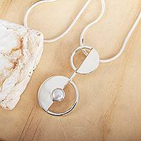 Cultured pearl pendant necklace, 'Modern Semicircles'