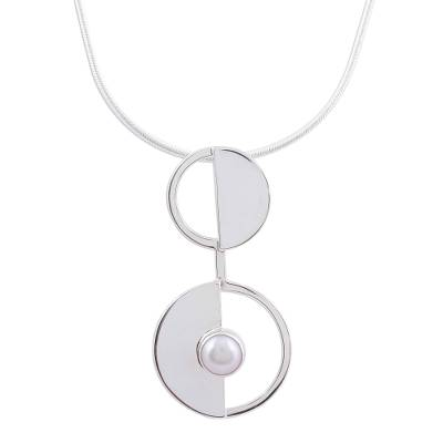 Cultured pearl pendant necklace, 'Modern Semicircles' - Modern Cultured Pearl Pendant Necklace from Mexico
