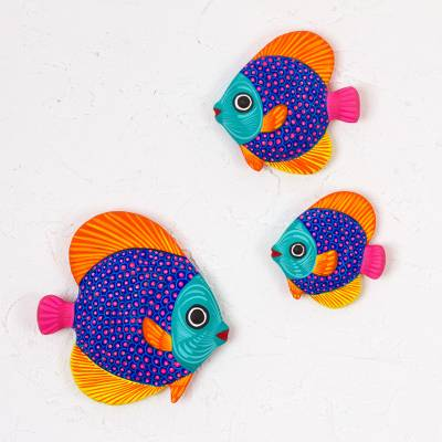 Ceramic wall art, 'Fish of the Sea' (set of 3) - Multicolor Ceramic Fish Wall Decor from Mexico (Set of 3)