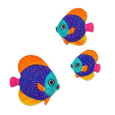 Multicolor Ceramic Fish Wall Decor from Mexico (Set of 3) - Fish of ...