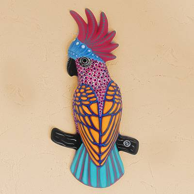 Ceramic wall art, 'Colorful Cockatoo ' - Multicolor Ceramic Cockatoo Wall Art from Mexico