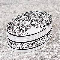 Ceramic decorative box, 'Serene Peacock' - Hand Painted White and Black Ceramic Decorative Box