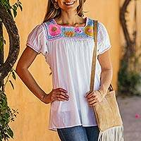 Cotton blouse, 'Tapachula Summer' - White Cotton Hand-Embroidered Blouse from Mexico