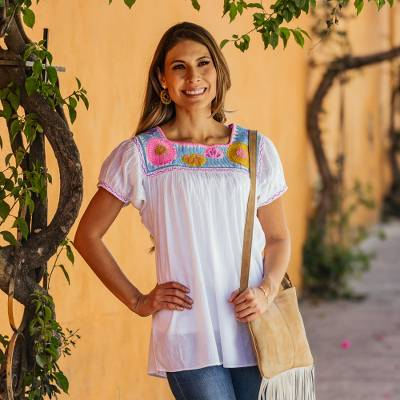 a54f6d0539b0b3 Cotton blouse, 'Tapachula Summer' - White Cotton Hand-Embroidered Blouse  from Mexico