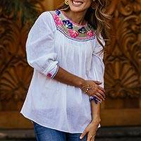 Cotton blouse, 'Ocosingo Dawn' - Embroidered White Cotton Blouse with 3/4 Length Sleeves