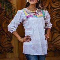 Cotton smock tunic, 'Huixtla Wildflowers' - Hand-Embroidered White Cotton Tunic Smock from Mexico