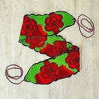 Cotton tie belt, 'Fiesta Roses' - Mexican Red and Green 100% Cotton Tie Belt with Rose Motif