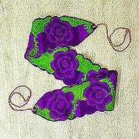 Cotton tie belt, 'Field of Flowers' - Mexican 100% Cotton Tie Belt with Purple Floral Motif
