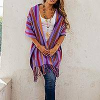 Cotton shawl, 'Pretty Stripes' - Handwoven Striped Cotton Shawl in Violet from Mexico