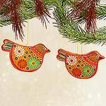 2 Yellow Floral Ceramic Peace Dove Ornaments Crafted by Hand, 'Marigold Dove'