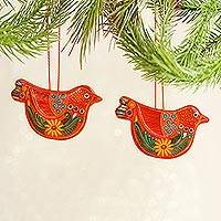 Ceramic ornaments, 'Tangerine Dove' (pair) - Mexico 2 Handmade Orange Floral Ceramic Peace Dove Ornaments