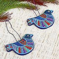 Ceramic ornaments, 'Bluebird Joy' (pair) - 2 Blue Ceramic Dove Ornaments Handcrafted in Mexico
