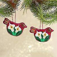 Ceramic ornament, 'Bright Bird Joy' (pair) - Handcrafted Fuchsia Ceramic Peace Dove Ornaments (Pair)