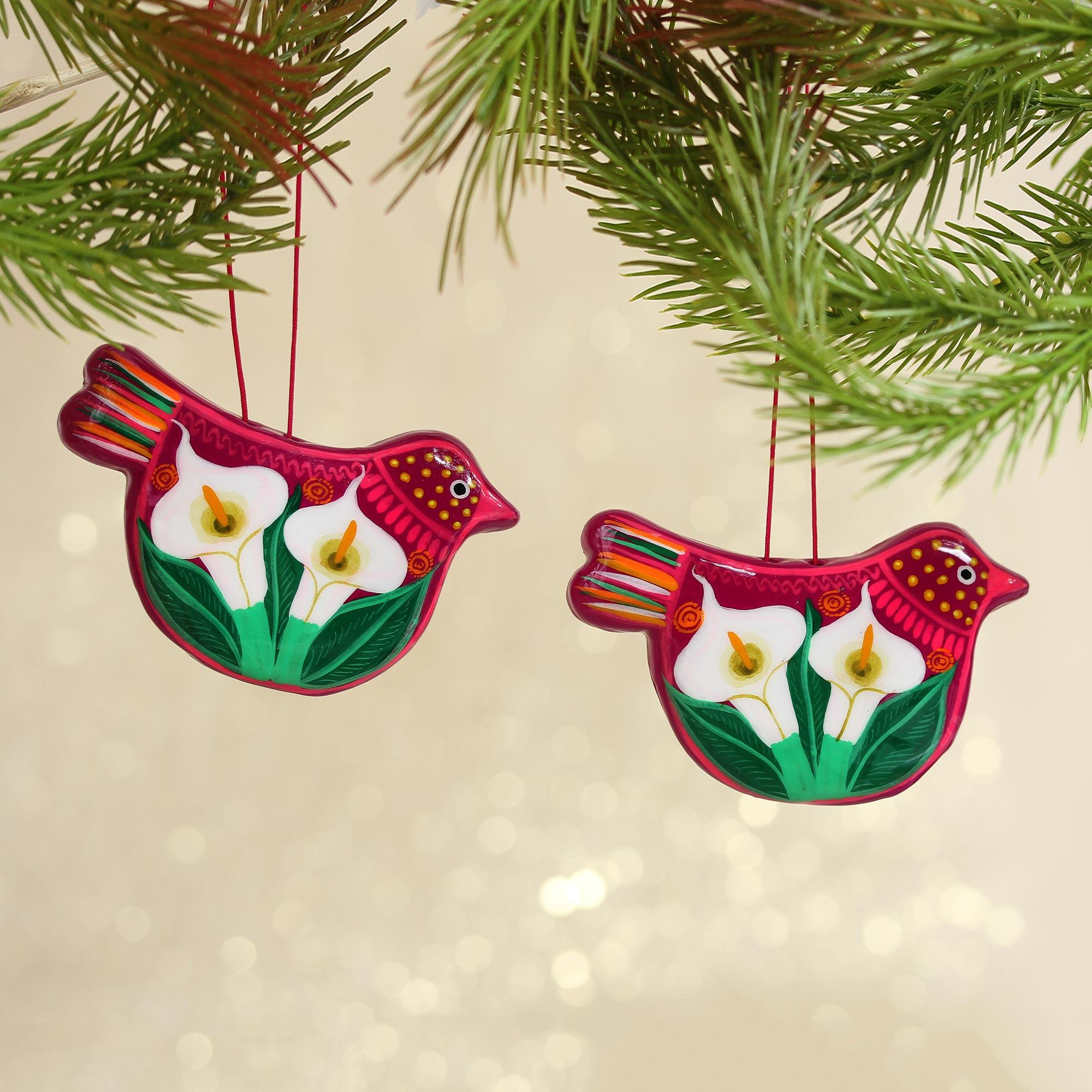 Handcrafted Fuchsia Ceramic Peace Dove Ornaments Pair Bright Bird Joy