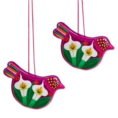 Ceramic ornament, 'Bright Bird Joy' (pair) - Handcrafted Fuchsia Ceramic Peace Dove Ornaments (Pair)