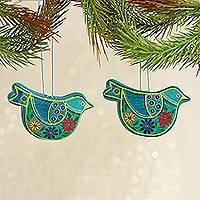 Ceramic ornaments, 'Blue Floral Doves' (pair) - 2 Caribbean Blue Ceramic Handcrafted and Painted Ornaments