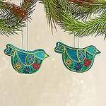 2 Caribbean Blue Ceramic Handcrafted and Painted Ornaments, 'Blue Floral Dove'