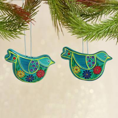 Ceramic ornaments, Blue Floral Dove (pair)