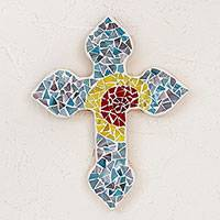 Glass mosaic wall cross, 'Cross of Crystals' - Handcrafted Glass Mosaic Wall Cross from Mexico