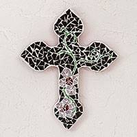Glass mosaic wall cross, 'Cross of My Village' - Handcrafted Floral Glass Mosaic Wall Cross from Mexico