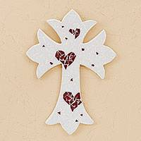 Glass mosaic wall cross, 'Heart Cross' - Handcrafted Heart Motif Glass Mosaic Wall Cross from Mexico