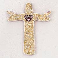 Glass mosaic wall cross, 'Heart of the Redeemer' - Handcrafted Glass Mosaic Wall Cross of Jesus from Mexico