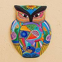 Ceramic wall art, 'The Wisest Bird' - Hand-Painted Owl Ceramic Wall Ornament with Flowers