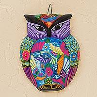 Ceramic wall art, 'Festive Purple Owl' - Floral Owl Hand-Painted Ceramic Wall Art from Mexico