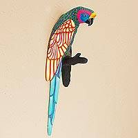Ceramic wall art, 'Macaw Fiesta' - Colorful Hand-Painted Mexican Macaw Ceramic Wall Ornament