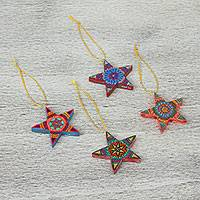 Wood alebrije ornaments, 'Stars Over Oaxaca' (set of 4) - Set of 4 Handcrafted Mexican Alebrije Star Ornaments