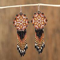 Glass beaded waterfall earrings, 'Desert Heat' - Orange and Black Hand Made Huichol Beaded Earrings